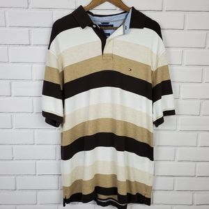 Tommy Hilfiger Brown White Mens Striped Polo Shirt